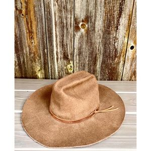 Accessories - 100% wool brown western hat